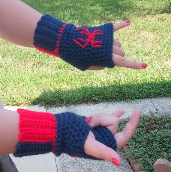 Spiderman Fingerless Gloves by ToMarket on Etsy, $18.00 | crochet ...