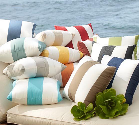 Superieur Sunbrella® Awning Stripe Indoor/Outdoor Pillow | Pottery Barn