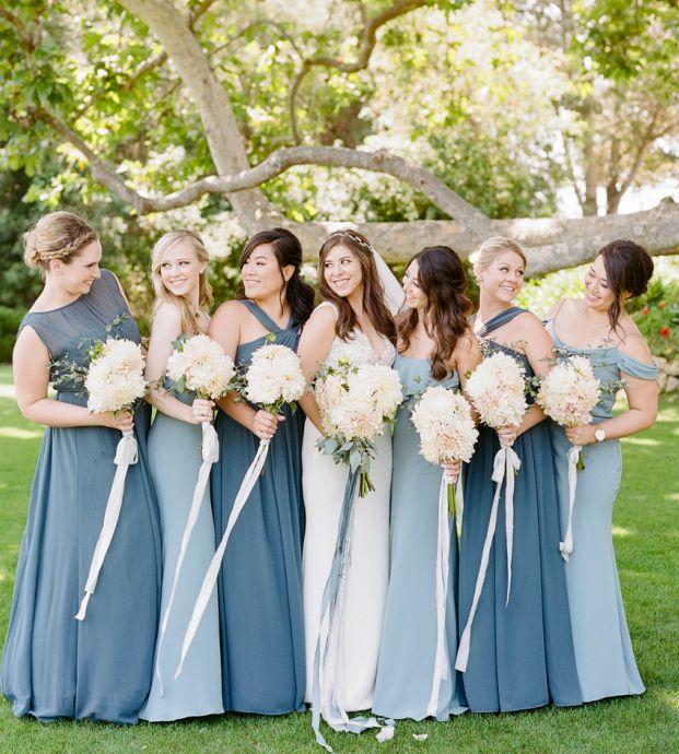 bcde44234 Jenny Yoo Bridesmaids // Mix n Match Shades of Blue // various long luxe  chiffon styles for a mistmatched bridal party // photo by Rebecca Yale