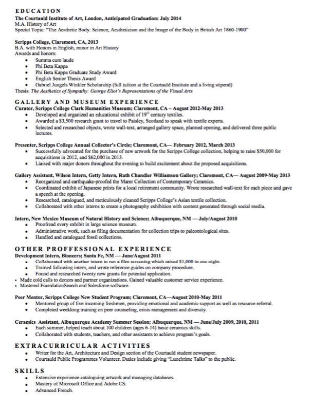 Sample Gallery Assistant Resume  HttpExampleresumecvOrg