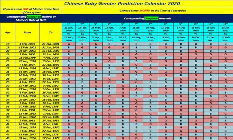 Chinese Birth Calendar 2020 Template in 2020 | Gender ...