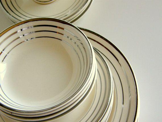 Art Deco Dinnerware Set for 4 Salem Zephyr by SusabellaBrownstein $250.00 & Art Deco Dinnerware Set for 4: Salem