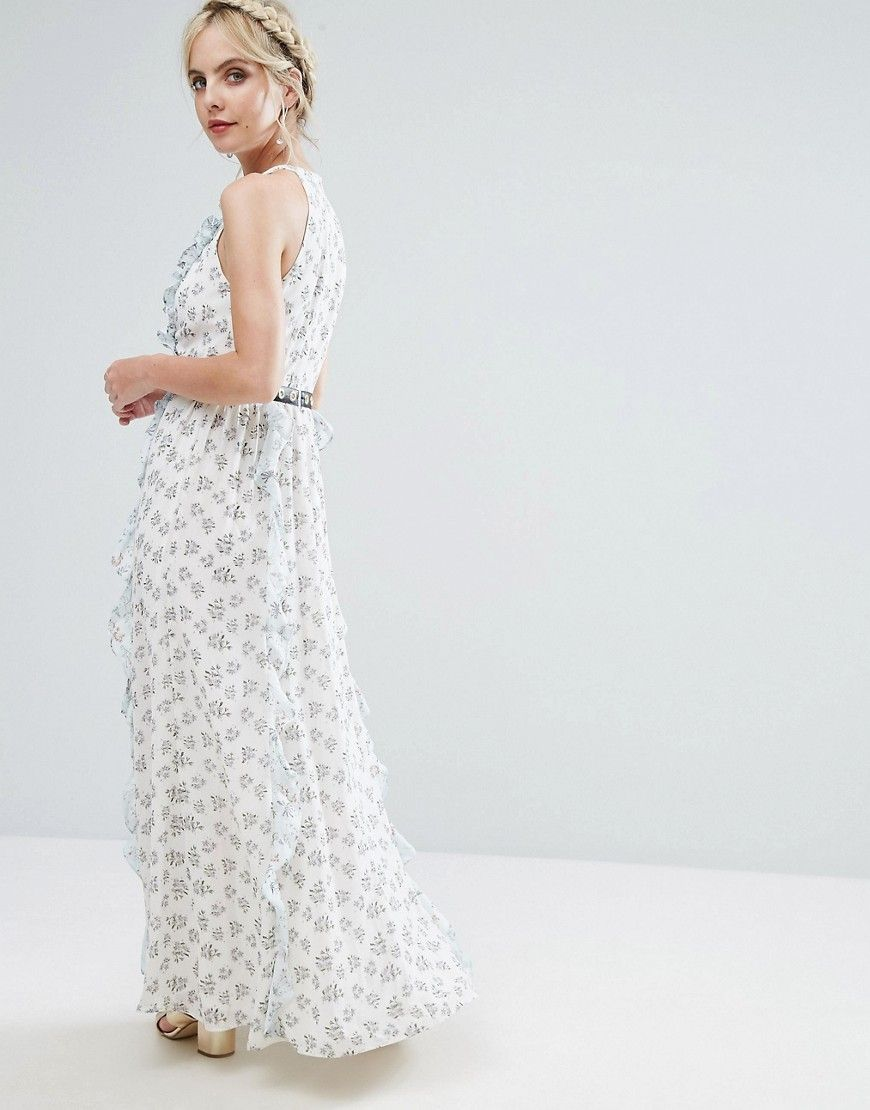 True decadence petite allover floral maxi dress with metal belt