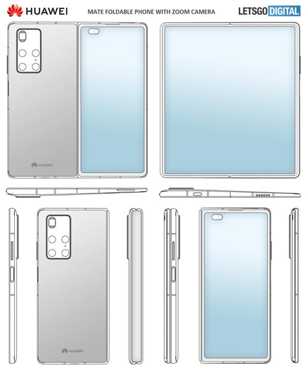 براءة اختراع سجلتها هواوي لدى هيئة الملكية الفكرية الصينية لهاتف قابل للطي يأتي بشاشة كاملة مع ثقب في جانب الشاشة أيضا شاشة ثانوية أص Huawei Mate Huawei Design