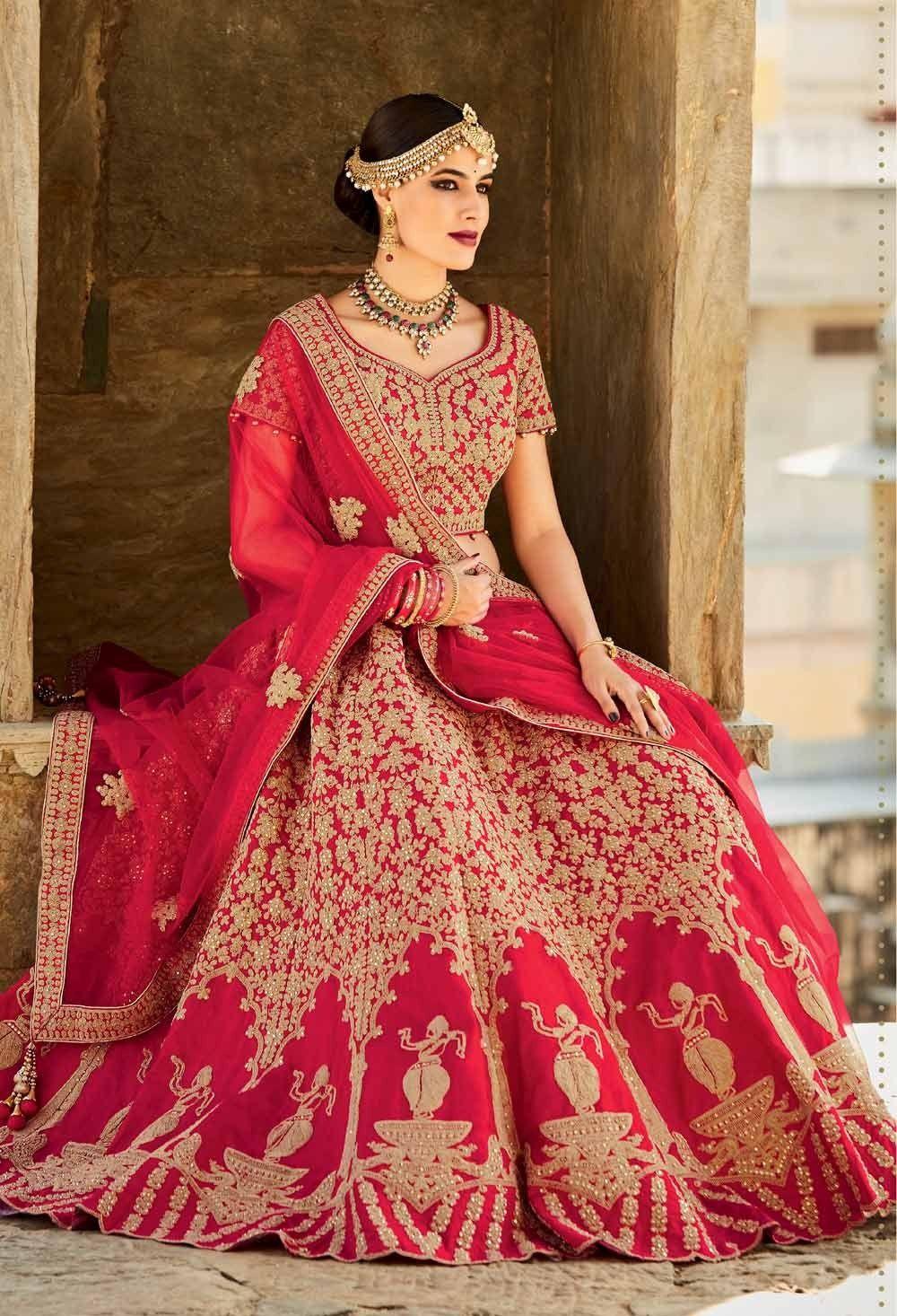 785f3f7b5a Red lengha choli, Silk lengha choli, $289.30. Buy latest bridal lengha with  custom stitching and worldwide shipping.