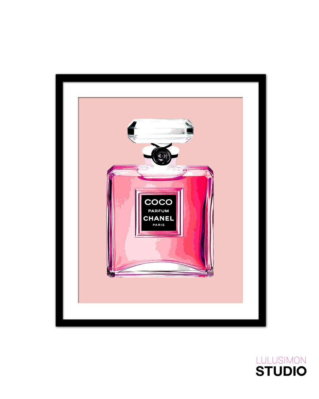 Chanel Perfume Bottle Print - Wall Decor Print - Pink Perfume Bottle Art Print - Home Decor by lulusimonSTUDIO on Etsy https://www.etsy.com/listing/230636001/chanel-perfume-bottle-print-wall-decor