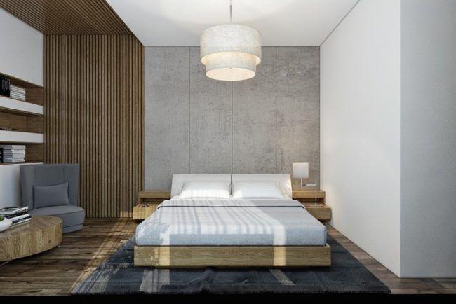 moderne Schlafzimmergestaltung ideen-lamellen-wand-decke-grau - schlafzimmer gestaltung ideen