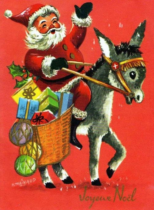 vintage christmas card dominique the christmas donkey - Dominique The Christmas Donkey