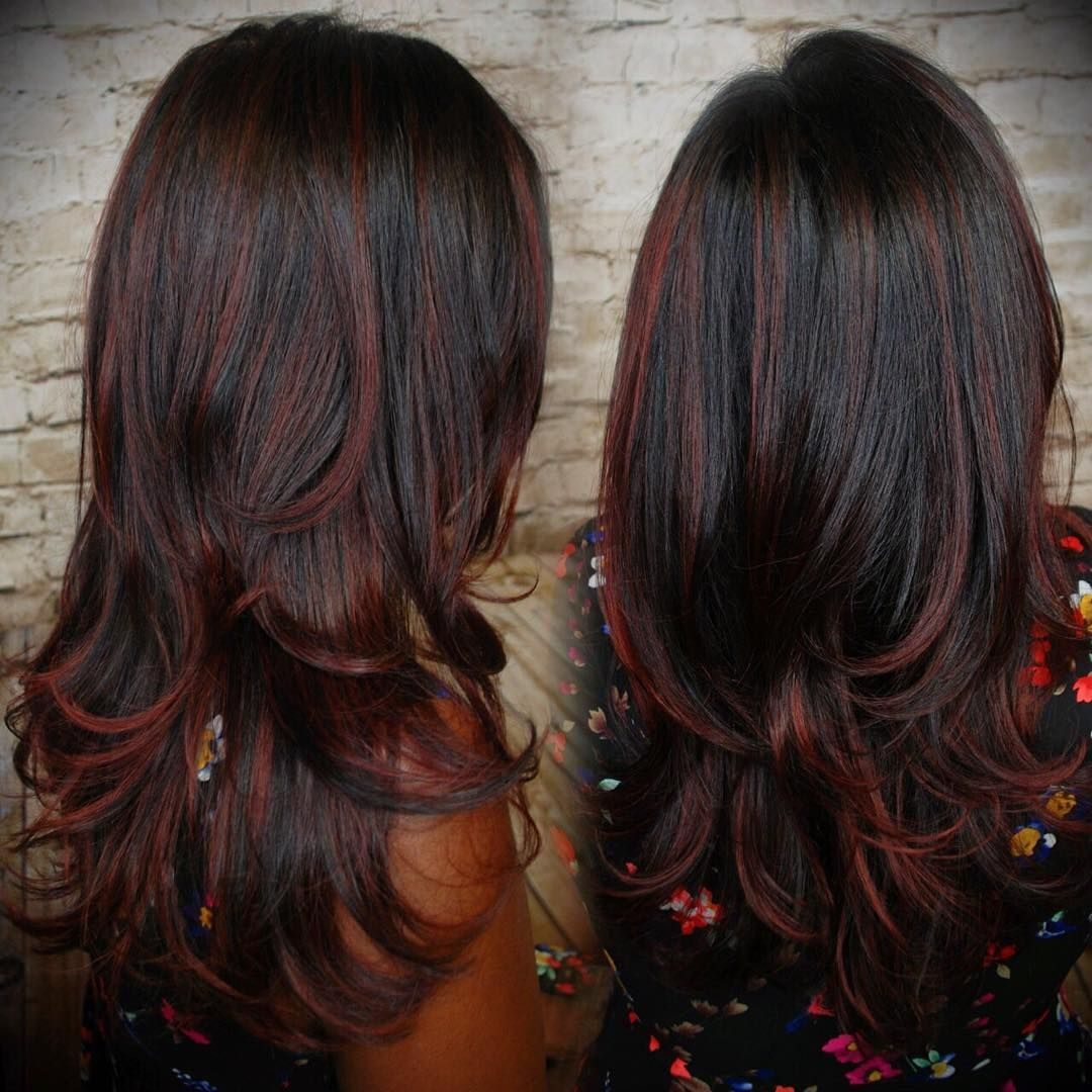 Layered Black Waves With Muted Cherry Highlights Beauty Things