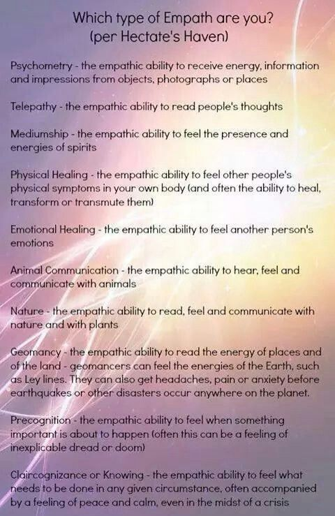 Types of empath | Wicca | Empath types, Rarest personality type