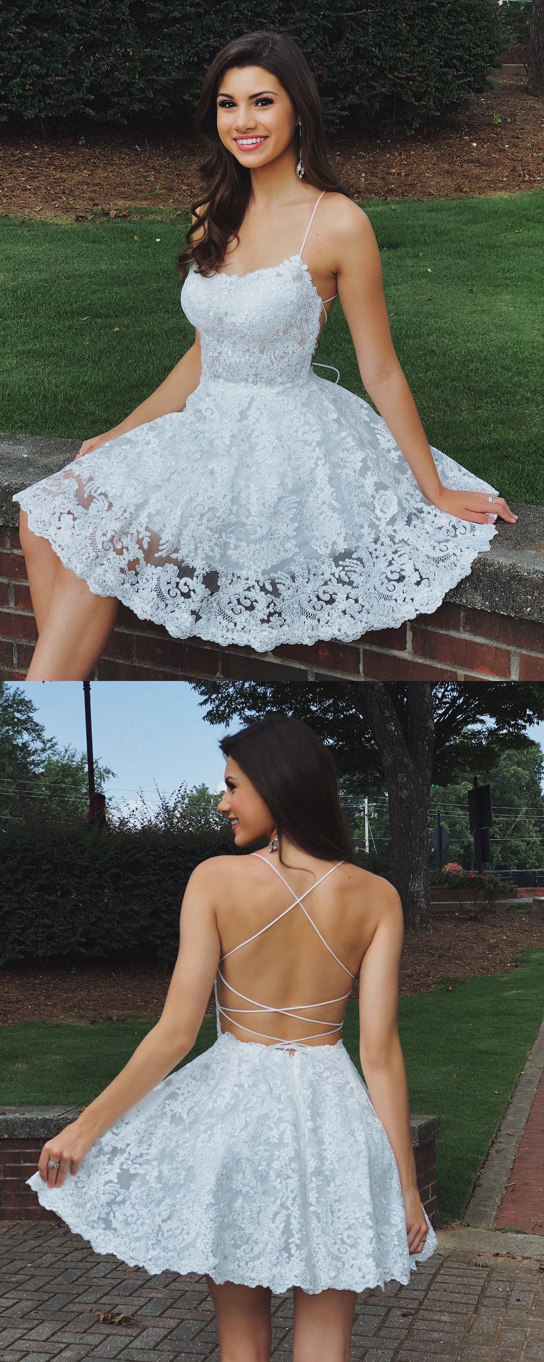 Cute white lace short homecoming dresses homecoming dresses