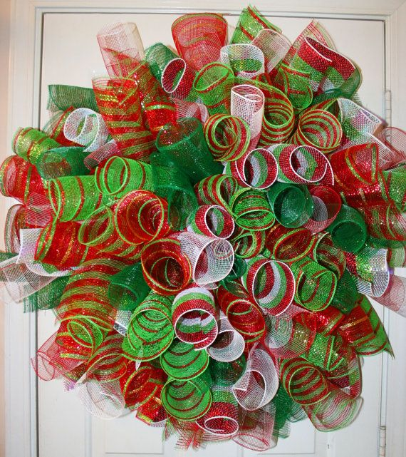 Deco Mesh Christmas Tree Wreath: Christmas Deo Poly Mesh Spiral Wreath By