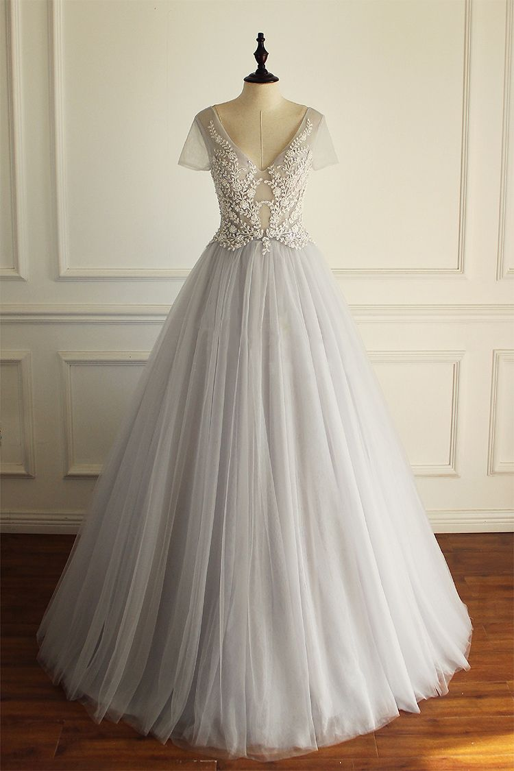 Long wedding dress tulle wedding dress applique wedding dress