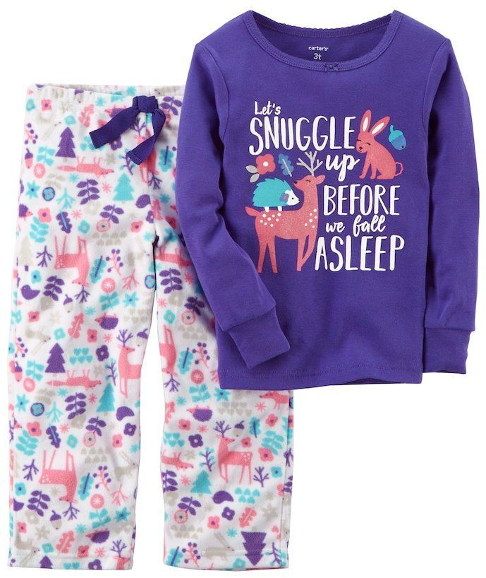d455c5922abf Girls 4-14 Carter s Graphic Top   Print Fleece Pants Pajama Set ...