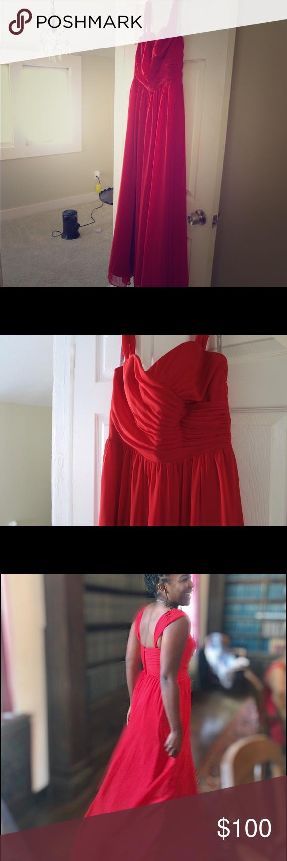 Red floor length chiffon dress red floor cherries and beautiful