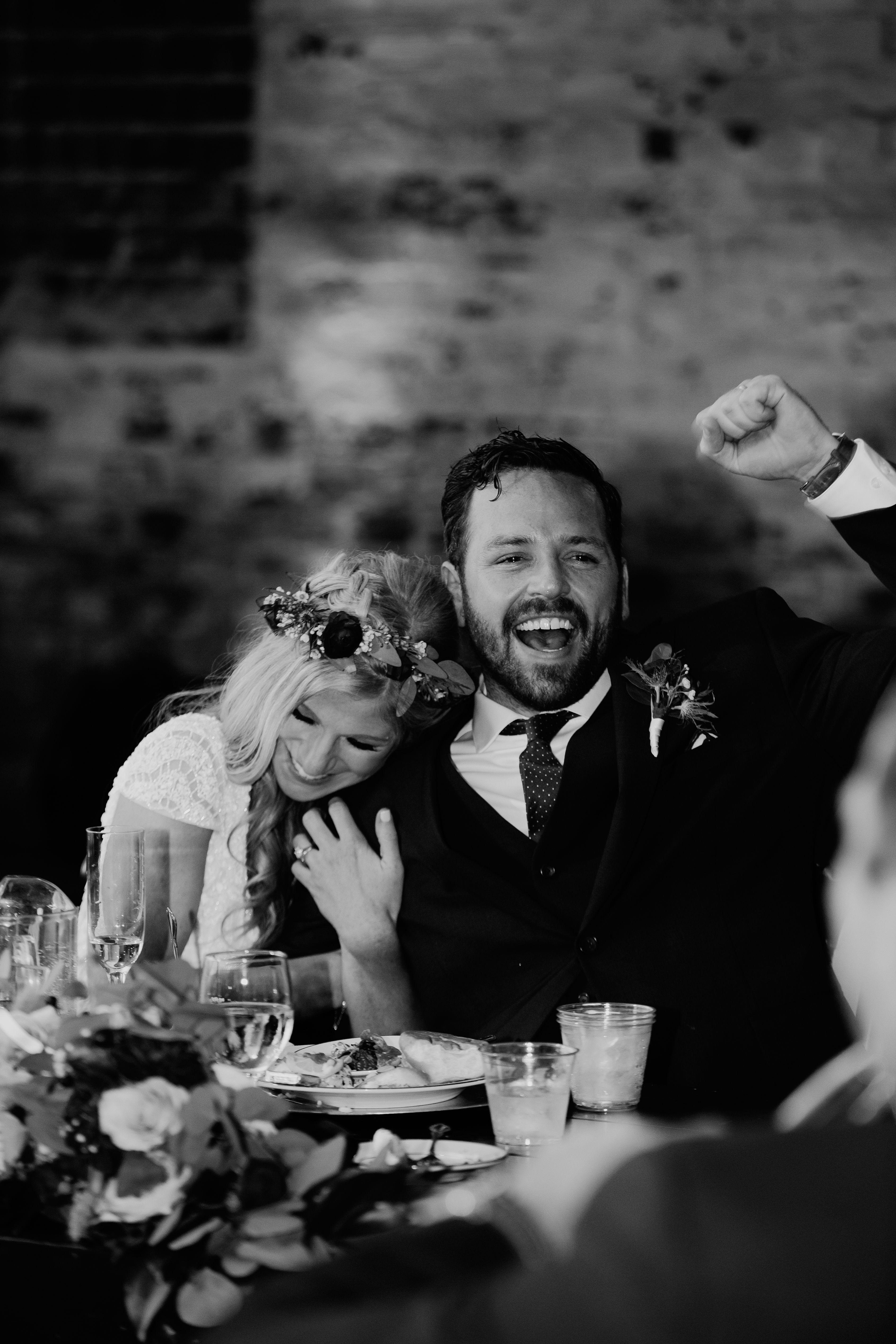 Indoor Wedding Reception At Rialto Theatre In Tampa Florida Bride And Groom Toasts