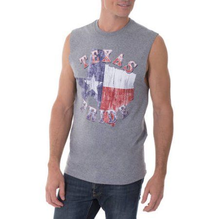Faded Glory Men's Texas Pride Graphic Muscle Tee, Size: Medium, Gray