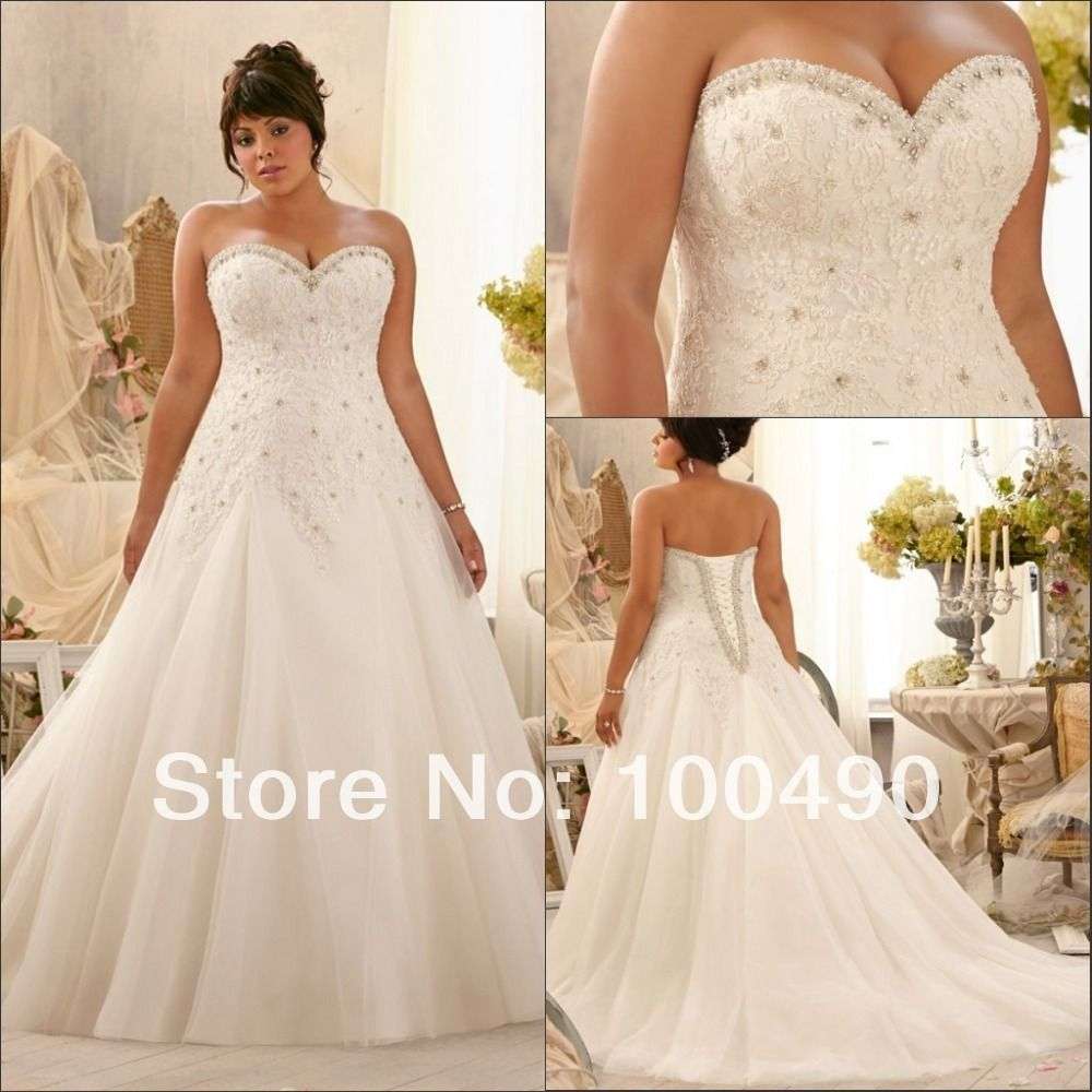Marvelous Princess A Line Sweetheart Organza Lace Draped Plus Size Wedding Dress  Corset Back Amazing Design