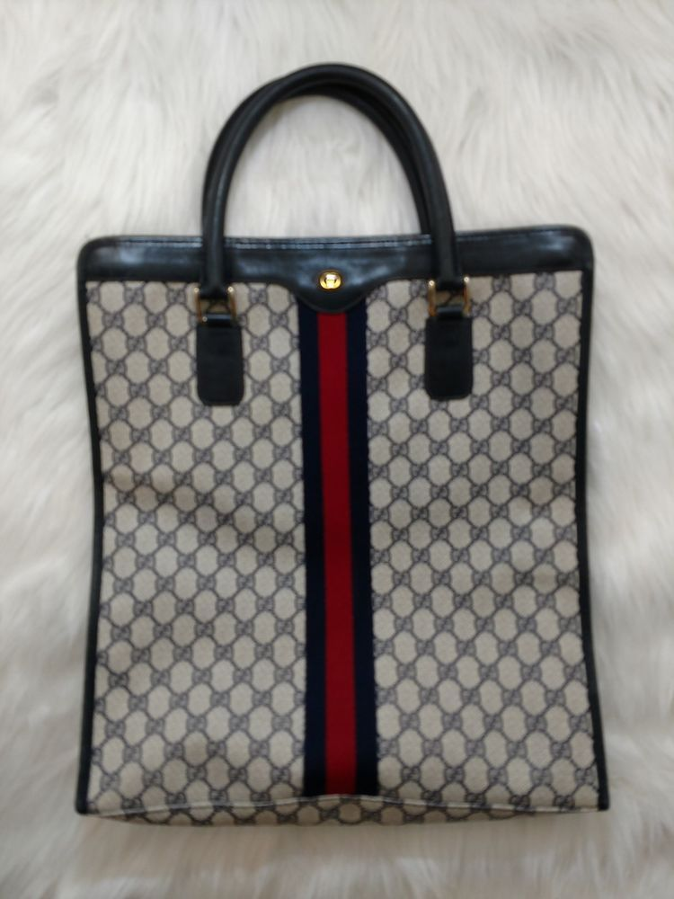 fe8c5381cee Authentic Vintage Gucci Shopper Tote Handbag Briefcase Sherry Line Blue  Monogram  Gucci  BriefcaseTote