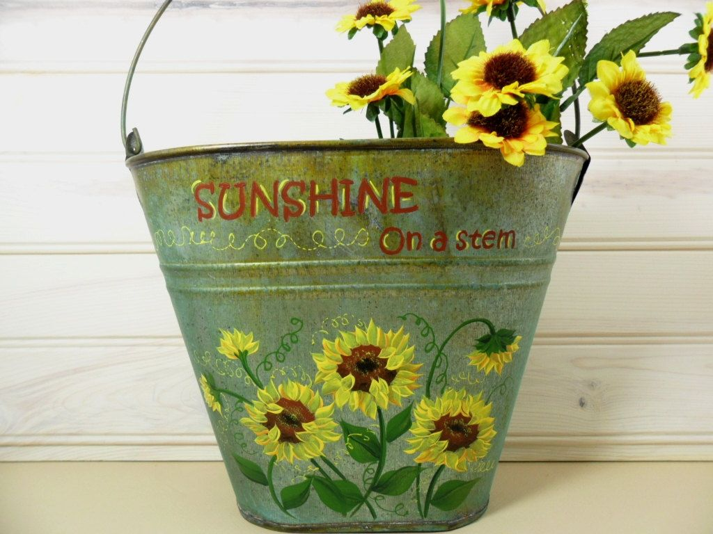 9 Hand painted Galvanized planter bucket