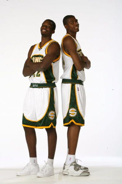 497eb7531 Jeff Green and Kevin Durant of the Seattle SuperSonics pose for a portrait  on July 10 2007 at the Palms Hotel in Las Vegas