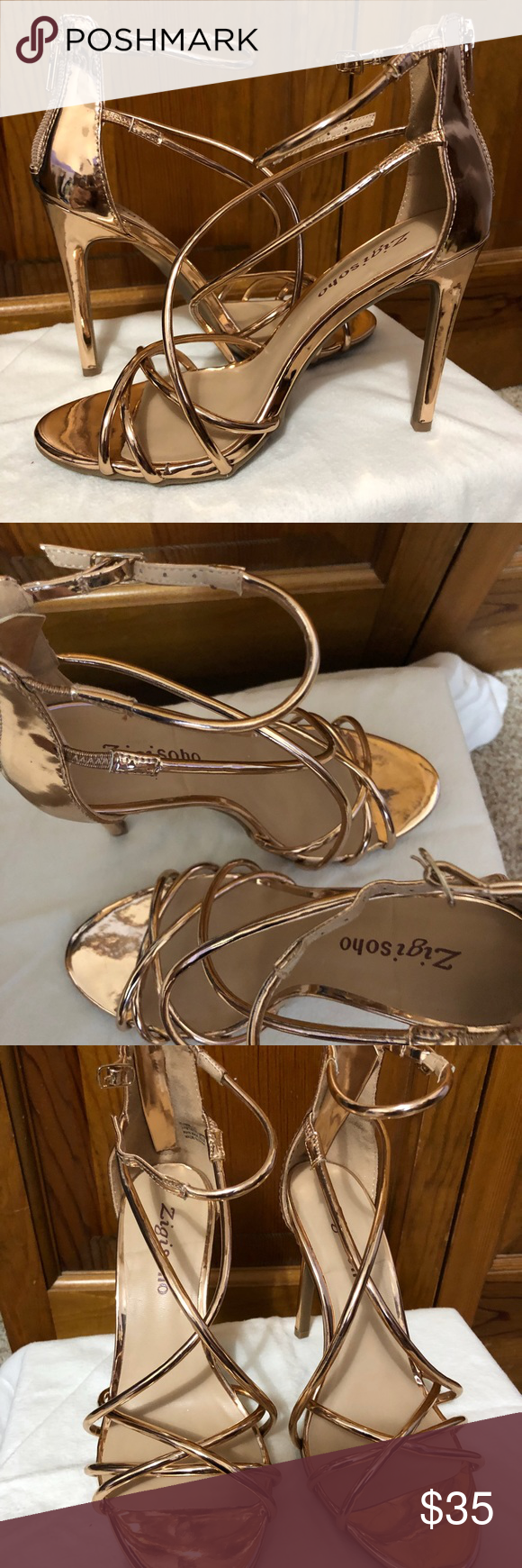 01a818882e12 Zigi Soho Blaker Strappy Heels Worn Once! Rose gold Zigi Soho Shoes Heels
