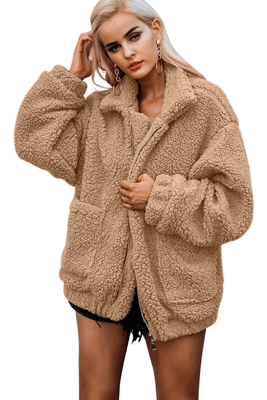 Stylish Light Brown Lamb Wool Zipped Chunky Coat [LC85193 17