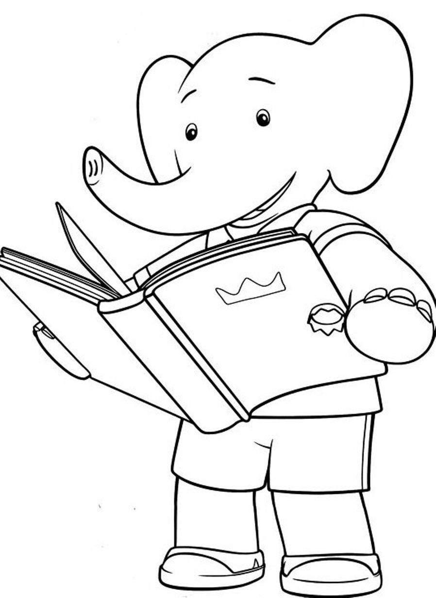 Little Babar Was Reading A Book   Babar Coloring Pages   Pinterest ...