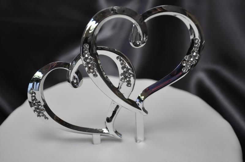 Wedding Clearance Large Double Hearts Diamante Cake Topper 5 Available Weddingwish