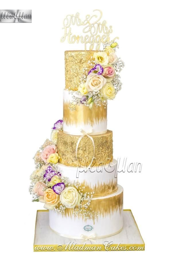 Gold-white wedding cake by MLADMAN - http://cakesdecor.com/cakes ...