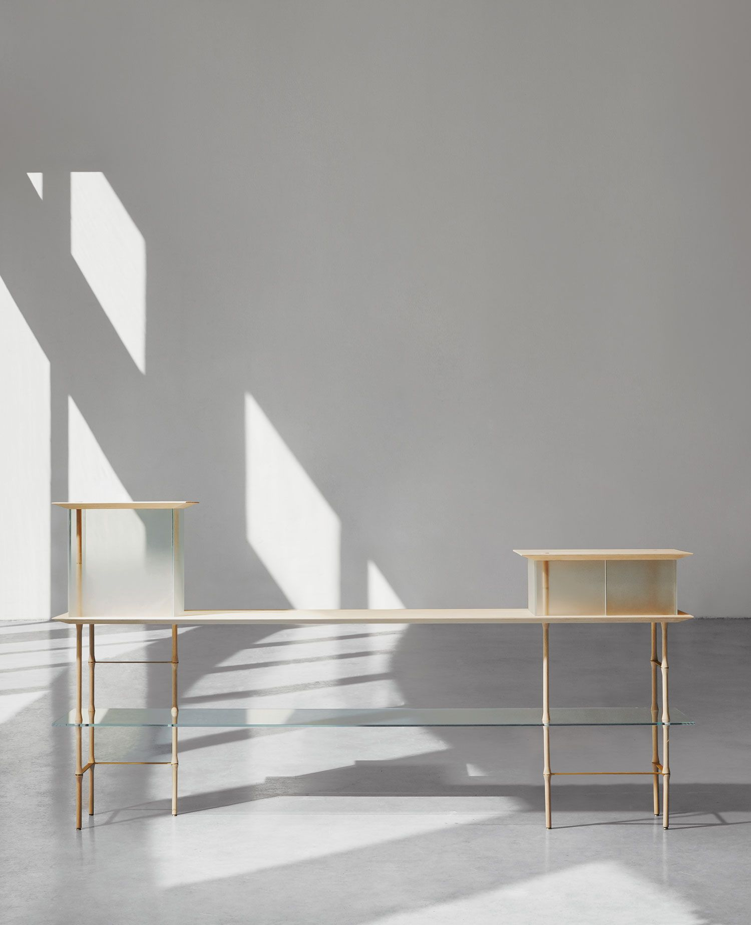 Bon Palafitte, Translating To U201cpilesu201d Or U201cslitsu201d, Is A Limited Edition Storage  Collection Made Of Layered Bamboo, Brass And Glass Designed By Giacomo Moor.
