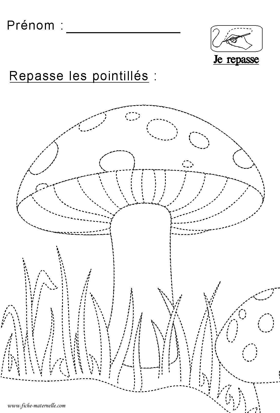 Repasser sur les pointillés | Pilz | Pinterest | Pilze, Vorschule ...