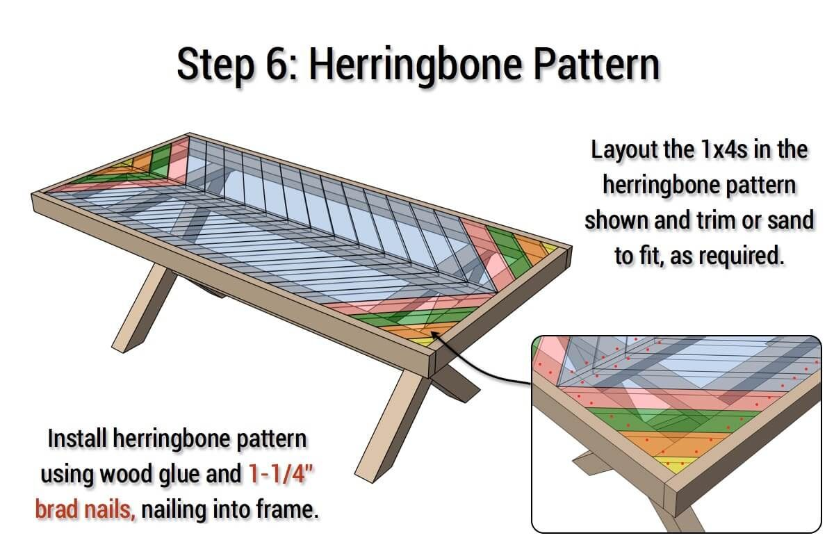 Outdoor Table with XLeg and Herringbone Top FREE PLANS