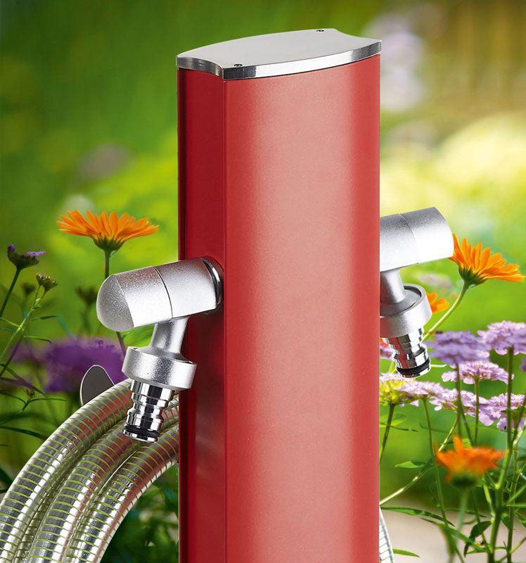 Wasserzapfstelle Freistehend Rot Oval Wasserzapfstelle Wasserhahn Garten Wasserzapfsaule