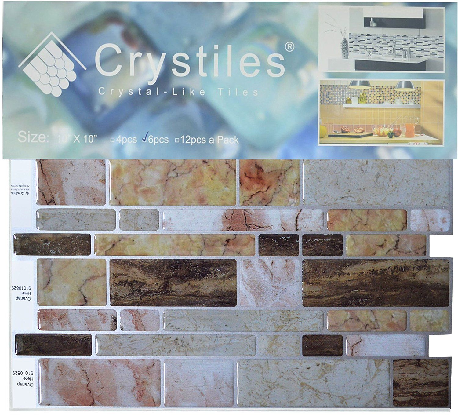 Amazoncom Crystiles Peel And Stick Self Adhesive Vinyl Wall Tiles,
