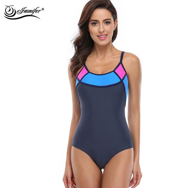 49124ff033a62 JAONIFER Sports One Piece Swimsuit Swimwear Women Sexy Backless Bodysuits  Swim maillot de bain Bathing Suits Beachwear