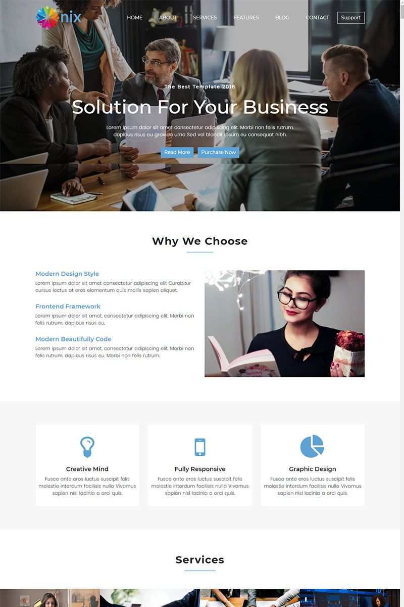 Onix One Page Parallax Bootstrap Landing Page Template Food