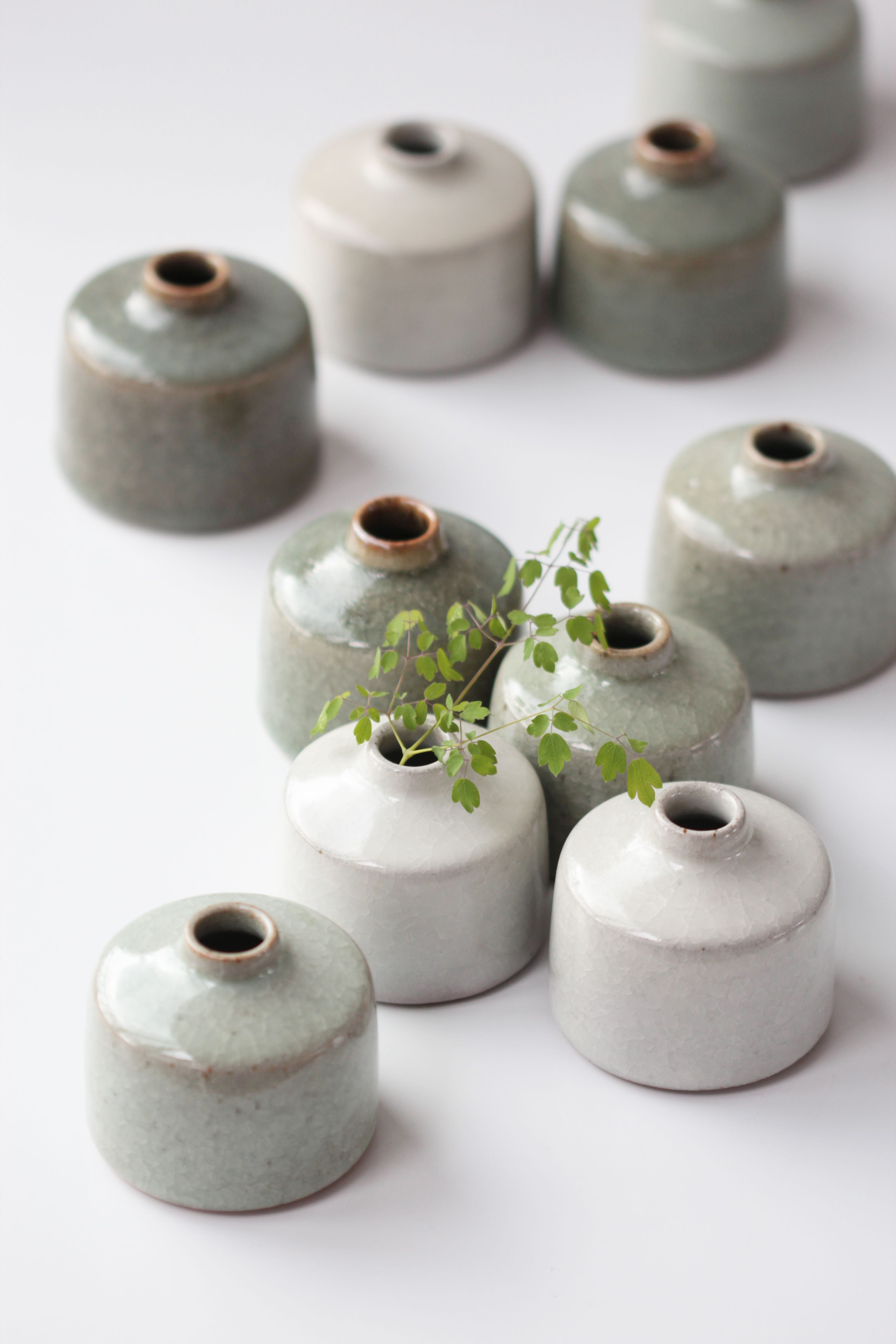 Florian Gadsby. Crackle glazed inkwells. #ceramicpottery