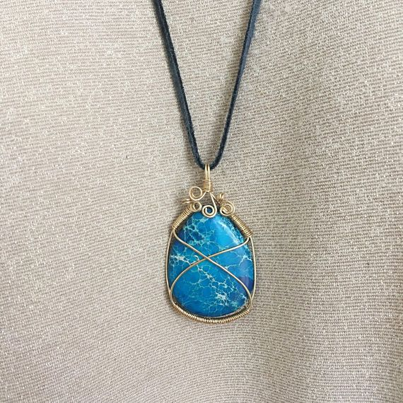 Blue Stone Leather Necklace / Fancy Wire Wrapped Stone   Leather ...