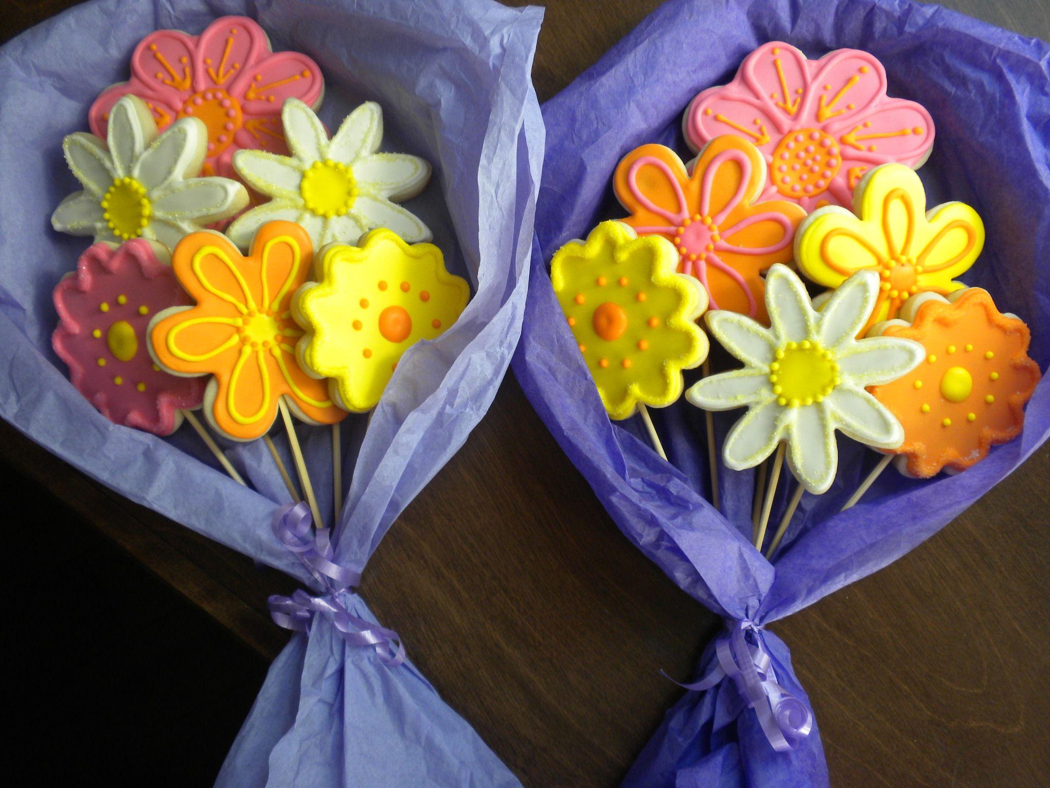 hand held cookie flower bouquets! | Cookie Bouquets | Pinterest ...