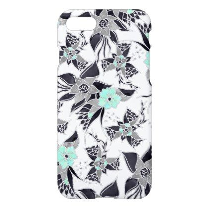 #floral - #Trendy spring grey mint green watercolor floral iPhone 7 case