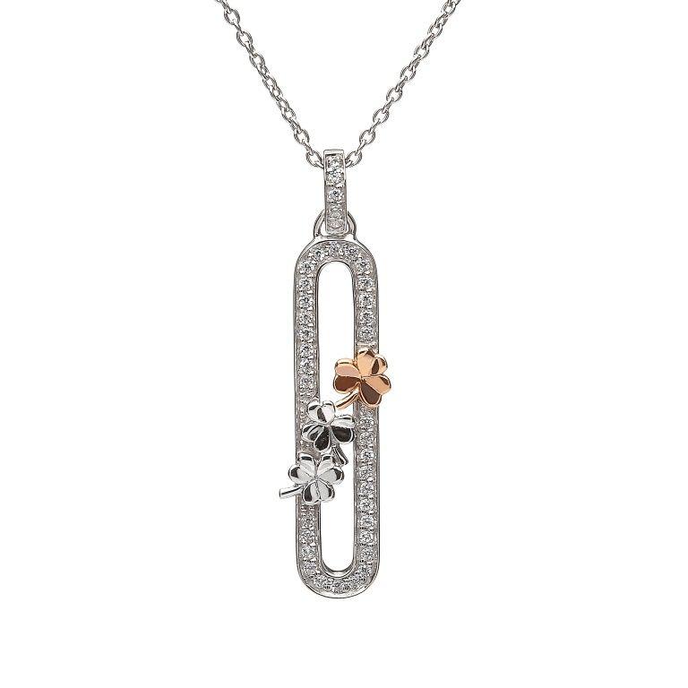 Sterling Silver shamrocks pendant #houseoflor #irishjewelry #irishgold #pendant #sterlingsilver #rosegold #shamrock #celticjewelry