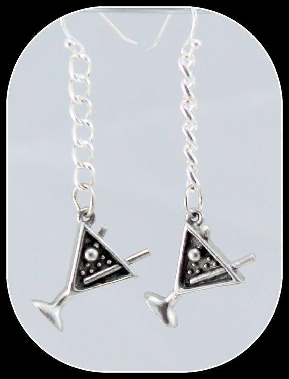 Martini Glass Earrings.  Chain Earrings.  Silver by BlingbyDonna