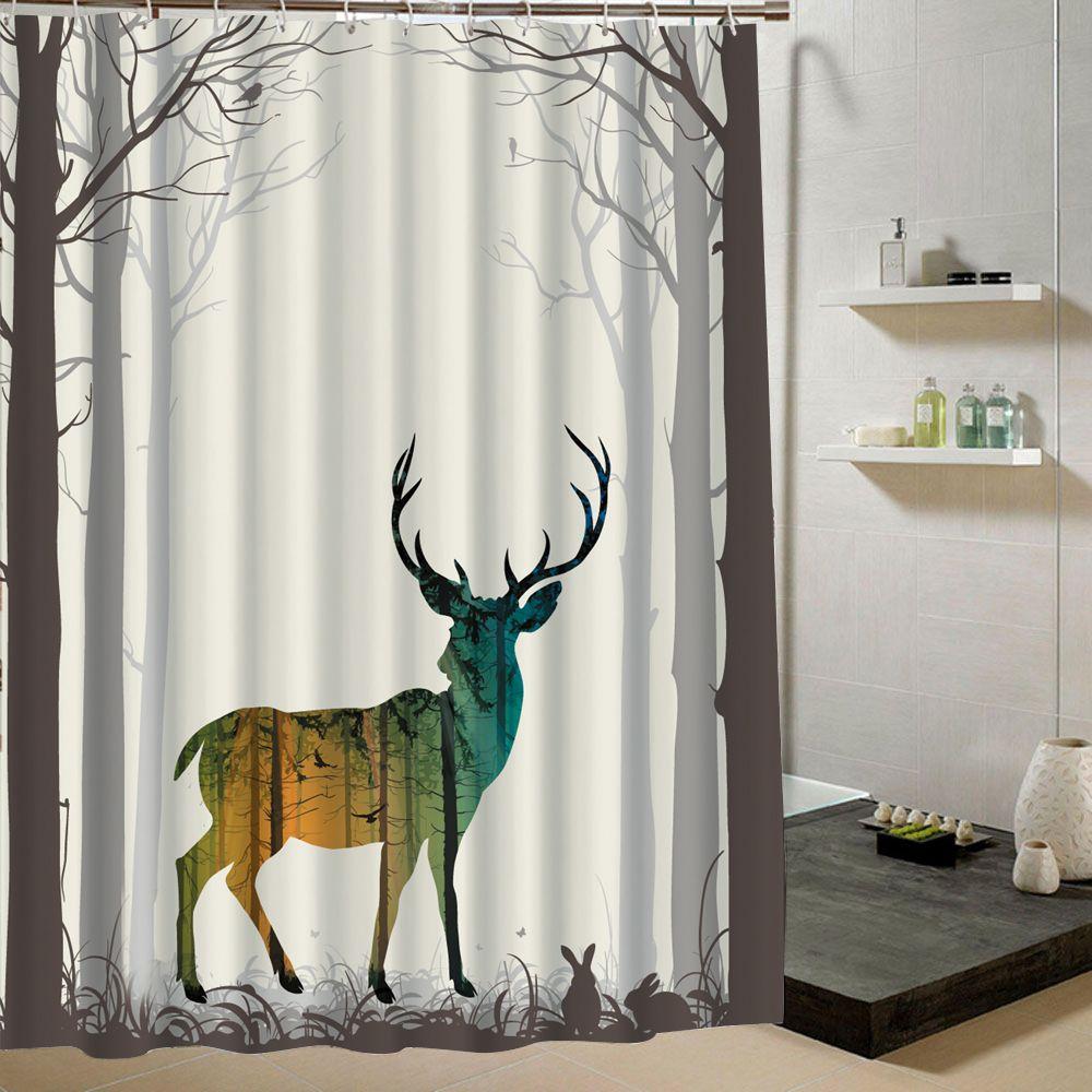 Deer Shower Curtain Forest Fabric Print Animal For Kids Bathroom Fashion Bath Decor