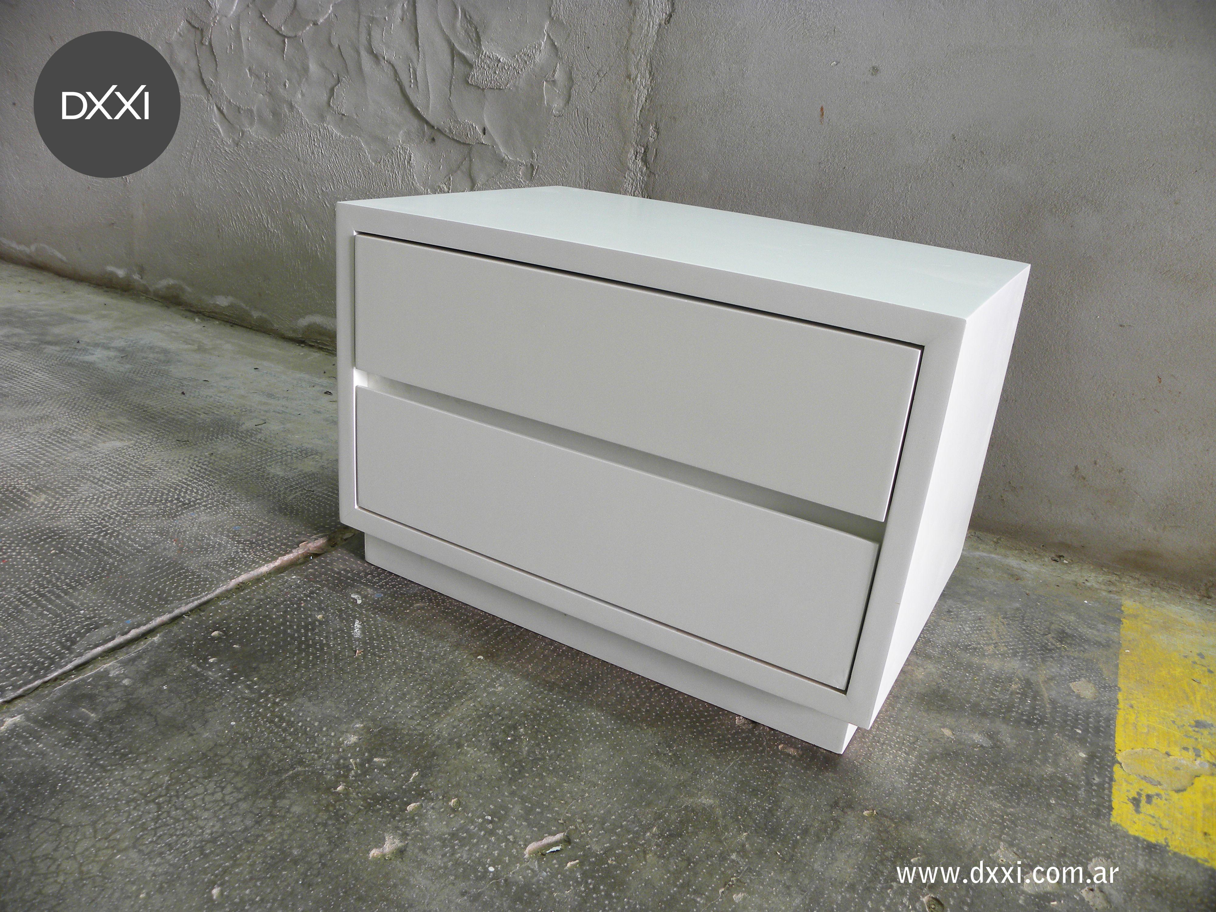 ffb87208 Mesa de luz modelo Net. 2 cajones con correderas telecopicas. MDF laqueado  blanco semi mate. www.dxxi.com.ar #dxxi #muebles #furniture #madera #wood #  ...