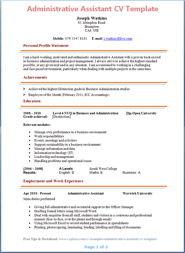 Beautiful Administrative Assistant CV Template Page 1 Preview