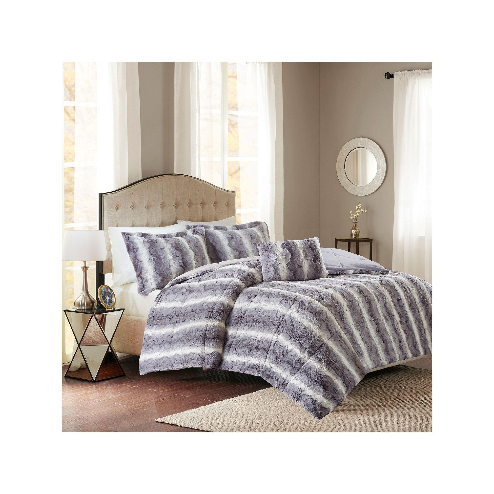 Madison Park Marselle Faux Fur Duvet Set Comforter Sets Faux Fur Bedding Fur Comforter