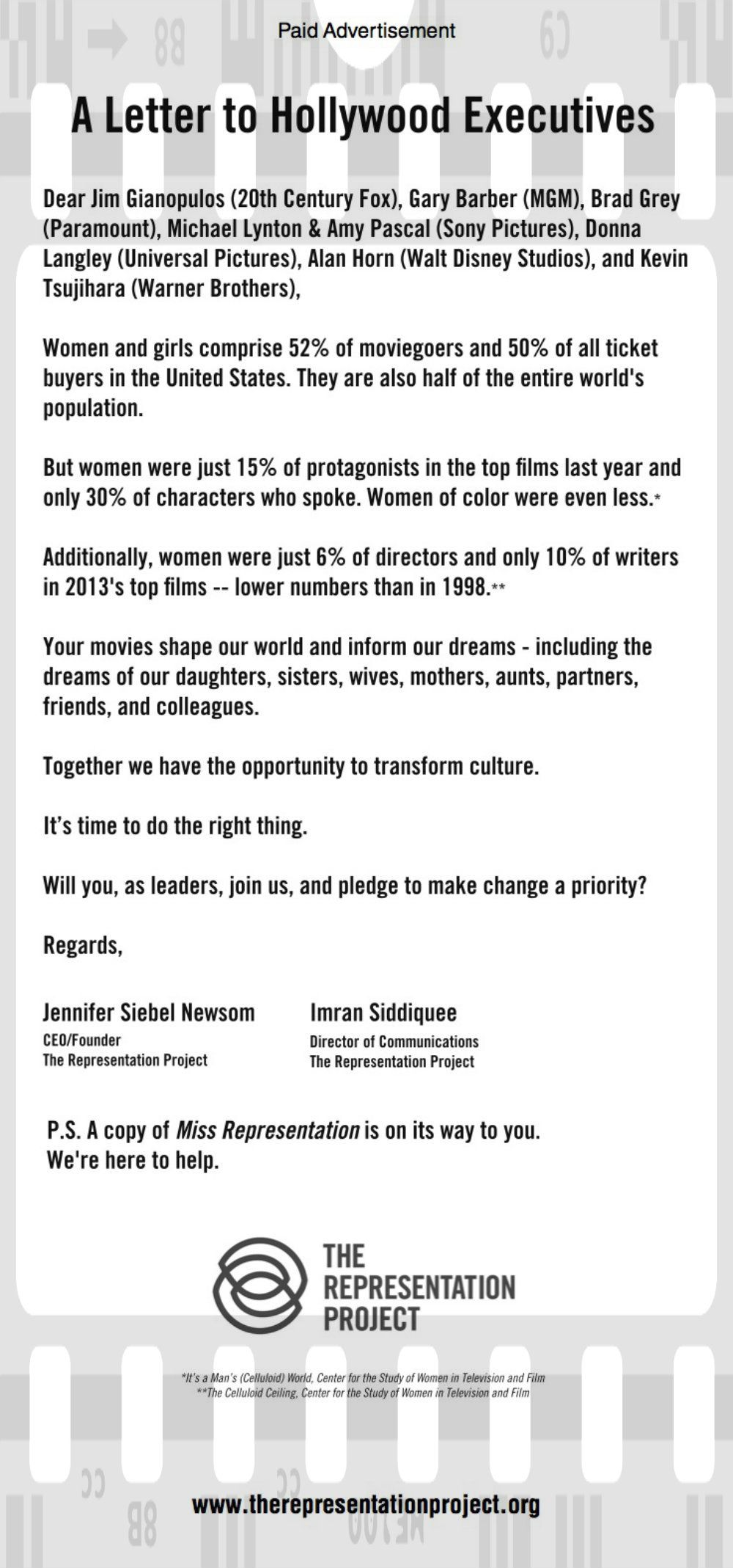 In Case You Missed It A Great Open Letter To Hollywood Was