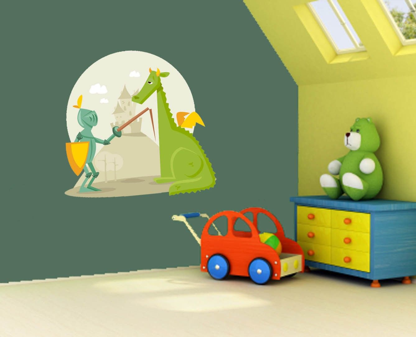 Totally Kids Totally Bedrooms: Totally Cute!!! Knight And Dragon Vinyl Wall Decal Sticker