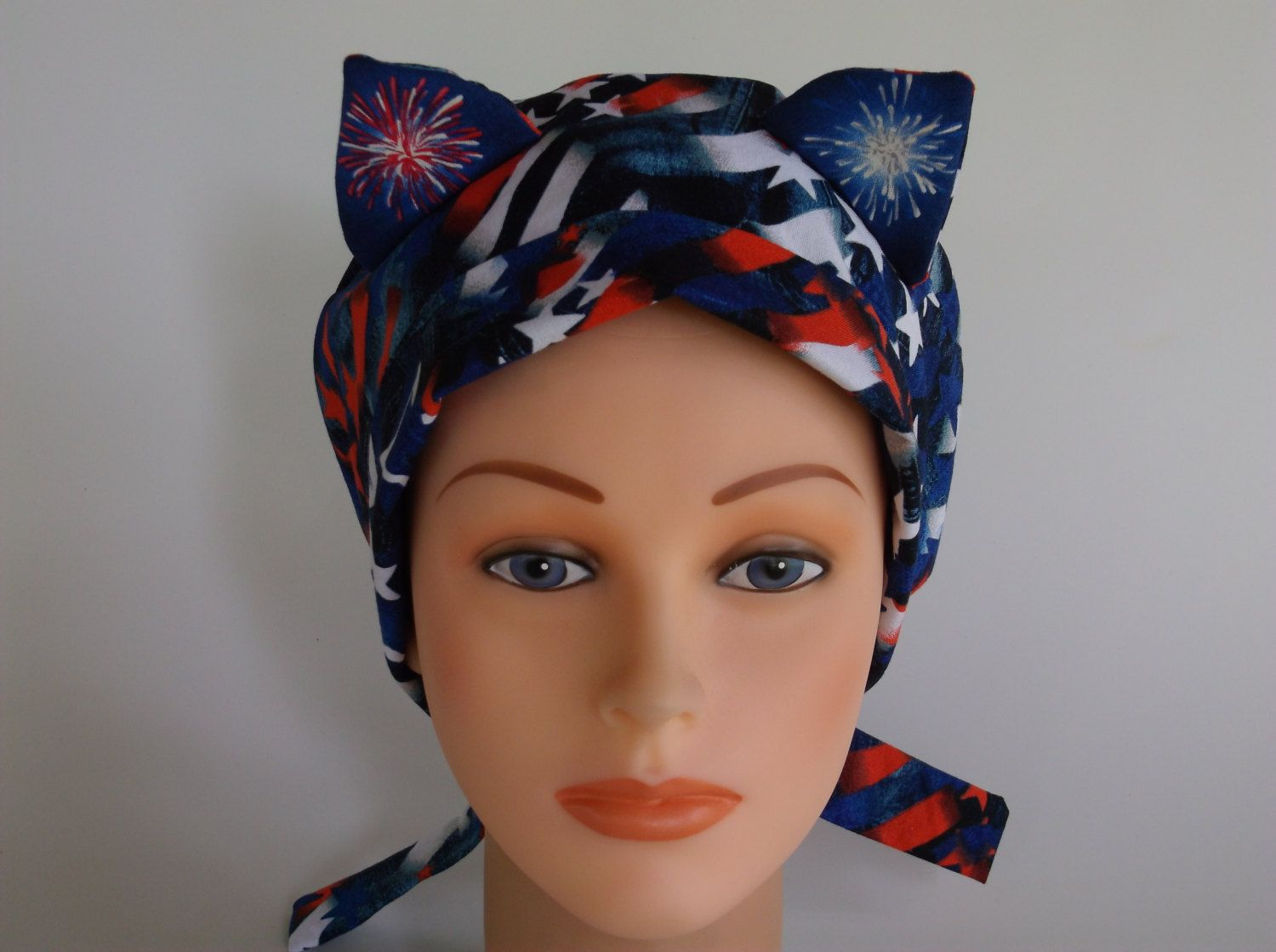 ed18a8a3f5c USA Proud Cat Ears - Lined womens surgical scrub cap
